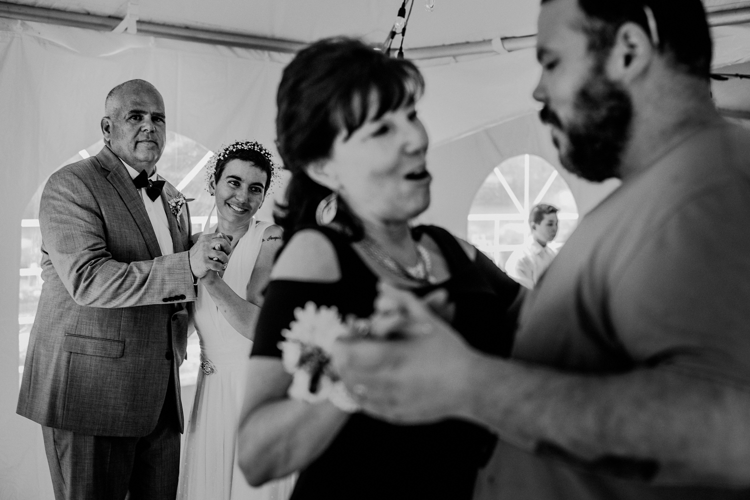 parent wedding dances under tent in nj backyard wedding