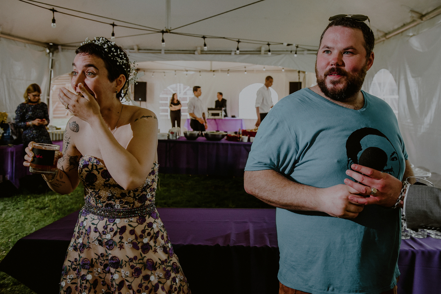 candid wedding photos of reactions during speeches