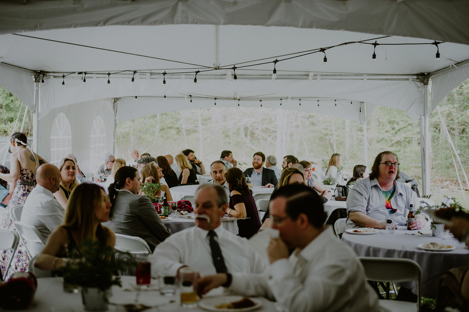 tented backyard wedding set up in central nj