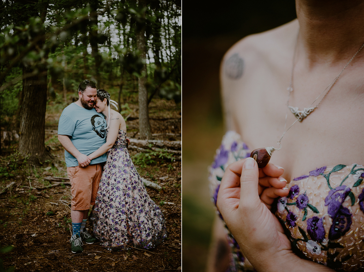 tattooed bride with alternative wedding dress