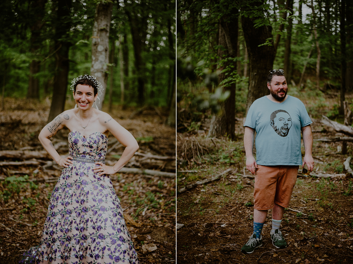 tattooed bride and groom with alternative wedding clothes