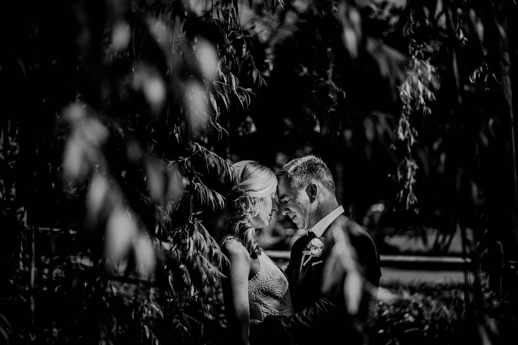 emotional black and white wedding portrait