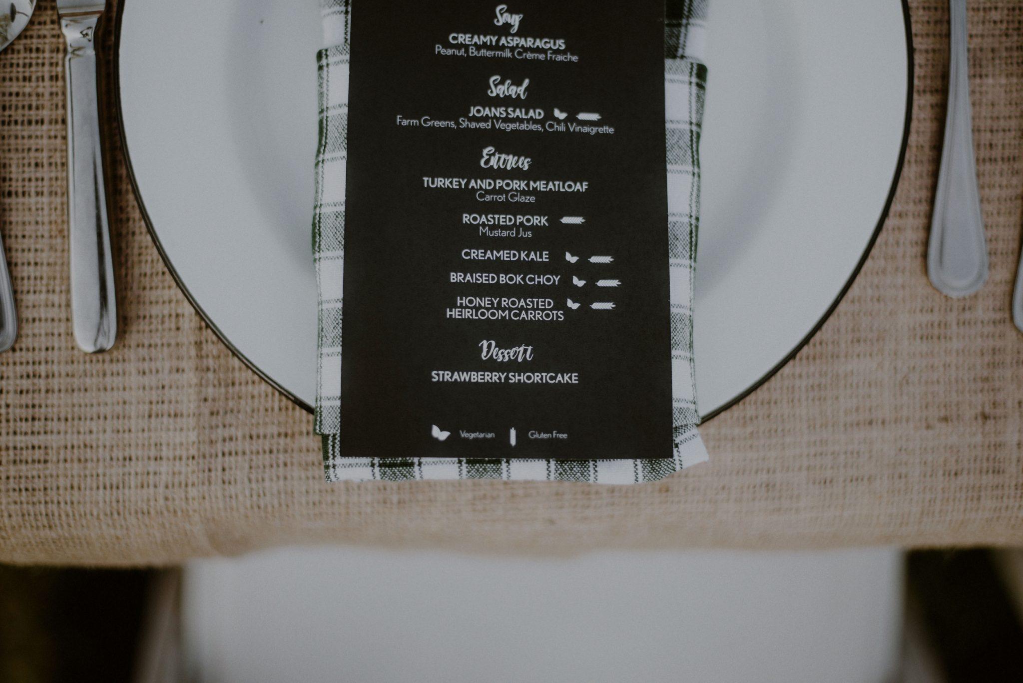 farm to table wedding menu at beach plum farm